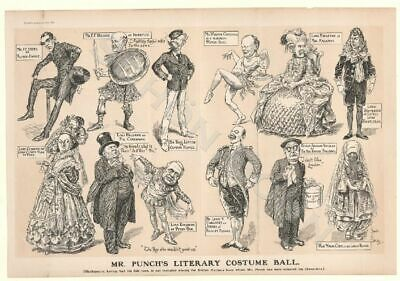 Caricature Karikatur 1912 Mr Punch's Literary Costume Ball Punch British Authors