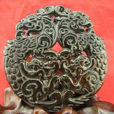 Chinese old black jade hand-carved Exquisite double phoenix jade pendant D1025