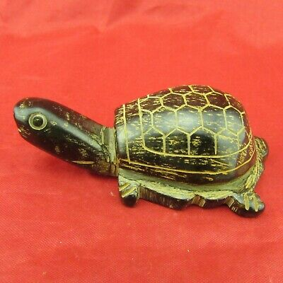 Chinese old black jade hand carving Exquisite turtle jade statue D1035