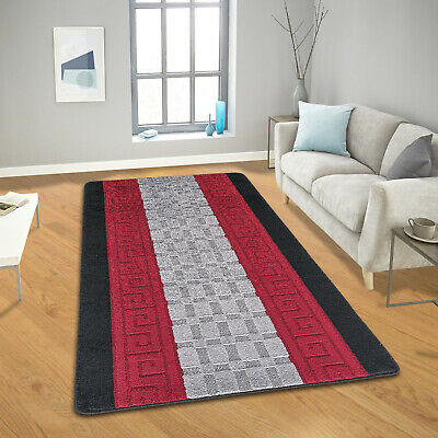 Modern Red & Black Large Anti Slip Gel Back Runner Non Shed Area Rugs 60x220 Cm