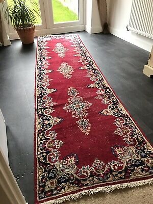 Old Hand Woven Persian Oriential Kirman Vintage Rug