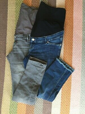 Maternity H&M jeans, over bump, lightweight, indigo and grey size 16 used