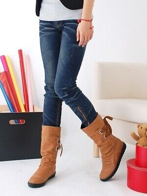 Plus Size EUR43 Suede Boots Casual Style Increase Women Belt Buckle Boots