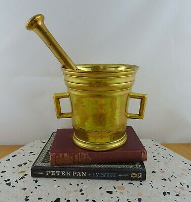 LARGE Antique Solid Brass Mortar & Pestle 1800s Apothecary Kitchen HEAVY