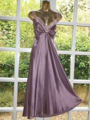 Vintage Style BHS Slippery Satin Lacy Nightie Nightdress Gown UK20 Tall Girl