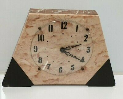 Art Deco Mantel Clock Marble Onyx Clock, Working.
