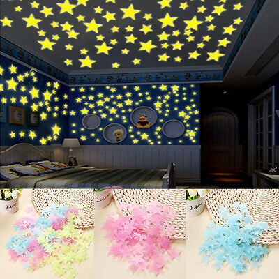 100x Glow In The Dark Star Wall Ceiling Luminous Toy Kids Room Nursery Decor