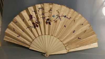 Victorian or earlier silk embroidered fan with  floral design for restoration