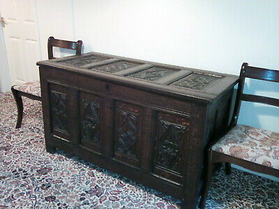 16th/17th Century Carved Oak Coffer
