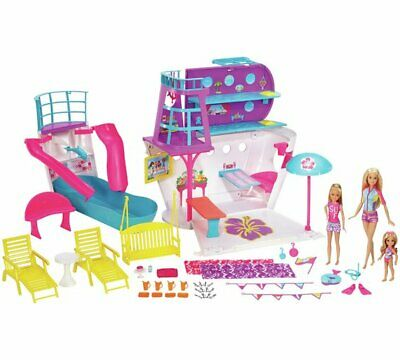 NEW Barbie DELUXE CRUISE SHIP PLAYSET w/3 Dolls and 28 Accessories - For Age 3+