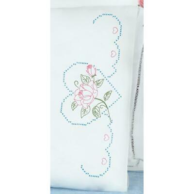 J DEMPSEY NEEDLE ART Pillow Case 2 pc Stamped for Embroidery ROSE & HEART 380