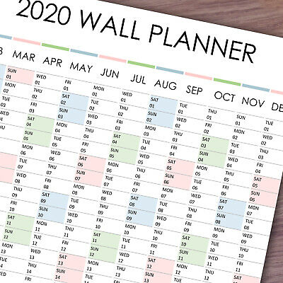 2020 Wall Planner Yearly Calendar in A3, A2 & A1 Vertical size multicolored