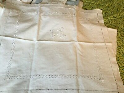 Antique French Linen All Hand Worked Square Pillow Case