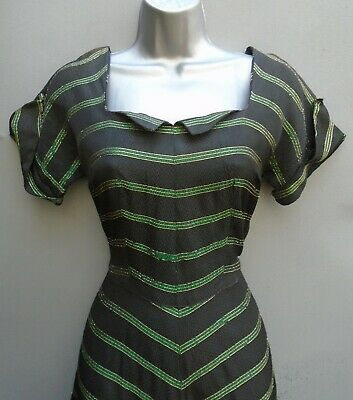 Superb Original Vtg Dress 1940s WW2 50s Black Green Striped Chevron Flared Skirt