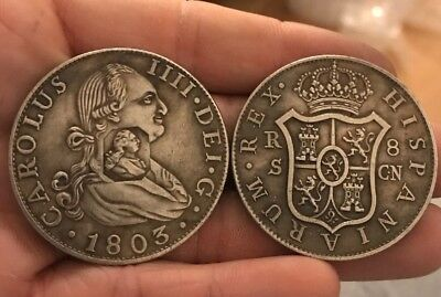 RESTRIKE Silver Plated CARLOS IV 8 REALES 1803 Coin