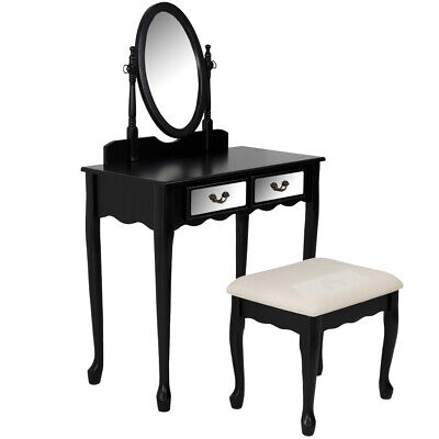 NEW Black Luna Dressing Table & Stool Set - Evergreen Home,Dressing Tables