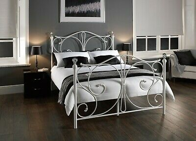 White Metal Crystal Finial Bed - Day Bed, Single, Double, Kingsize Or Trundle