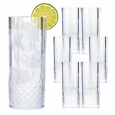 12 x Highball Clear Crystal Effect Glasses Picnic Outdoor Camping Glasses