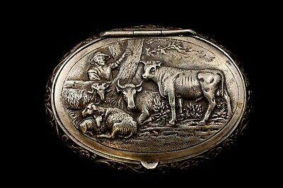 One  Antique Silver Powder Box With Pastoral Scene Probably Dutch