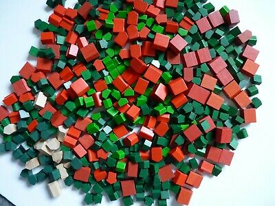 Vintage Metal Monopoly Pieces Plastic Wood Houses Hotels Red Green