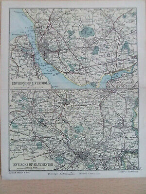 LIVERPOOL MANCHESTER ENVIRONS + RAILWAYS ANTIQUE BARTHOLOMEWS  MAP 1890 7inx 9in