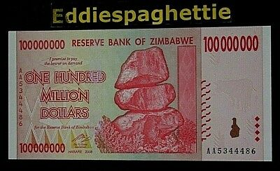 Zimbabwe 100 Million Dollars 2008 Prefix AA UNC P-80