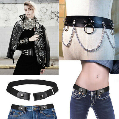 Buckleless Invisible Belt Elastic Jeans Comfort Waistband / Punk Leather Pants