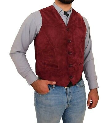 REAL Suede Waistcoat Mens Classic Style Soft Burgundy Suede Leather Vest Gilet