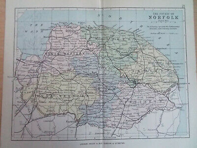 NORFOLK + RAILWAYS ANTIQUE BARTHOLOMEWS  MAP 1890 7inx 9in