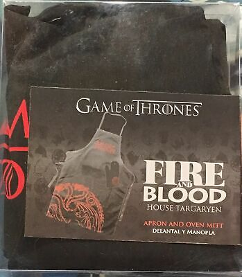 Game of Thrones FaB House Targaryen Apron and Oven Mitt Set x1 New