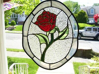 Stained Glass Enchanted Rose Sun-catcher (Real Glass)