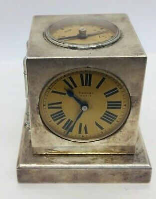 Tonnel Paris Antique French Sterling Silver Navigational Compass Barometer Clock
