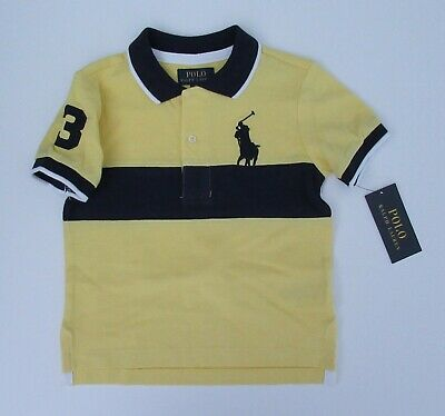 NWT Ralph Lauren Boys S/S Big Pony Chest Stripe Mesh Polo Shirt 2/2t 3t 4t NEW