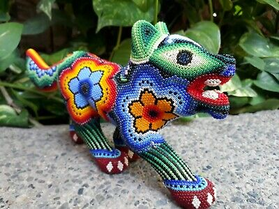 Gorgeous Hand Beaded Huichol Mexican Folk Art Coyote, By Morelia Lopez PP1079