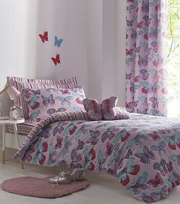 Cot Bed Duvet Cover Set Girl Bedroom Pink Green Butterflies Multi Stripe Bedding