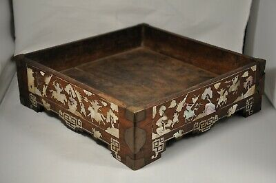 Plateau Lettre Chinois Nacre Antique Mother Of Pearl Inlay Vietnamese Tea Tray