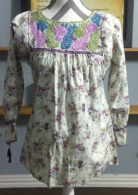 Mexican Blouse Embroidered Size XL Large Medium Small Hand Made Peasant Top