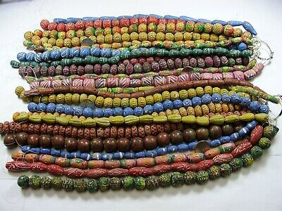 24 Strands (5 Pounds) Handmade Assorted Large Clay Beads India Wholesale Lot