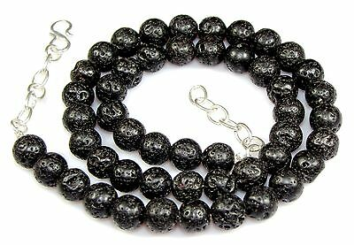 Natural Volcanic Black Lava Women Necklaces Gemstone 8 MM Thanksgiving Day Sale