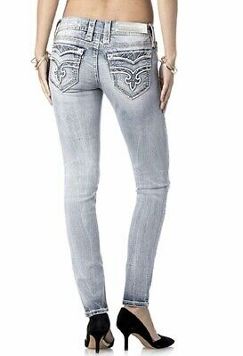 2a15cc956 ROCK REVIVAL WOMENS Skinny Jeans Topstitched Distressed Dark Size 29 ...