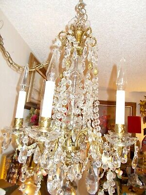 "Spectacular Antique European 6 Arm Brass and Crystal Chandelier 30"" X 20"""
