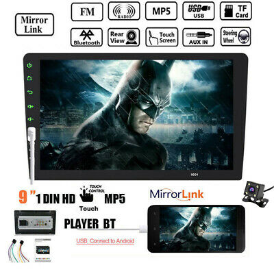 """9""""1DIN Touch Screen Car Radio+Camera FM Mirror Link  Bluetooth Stereo MP5 Player"""