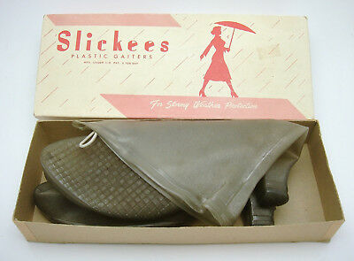 Vintage Slickees Plastic Gaiters Womens Overshoes Boots In Box