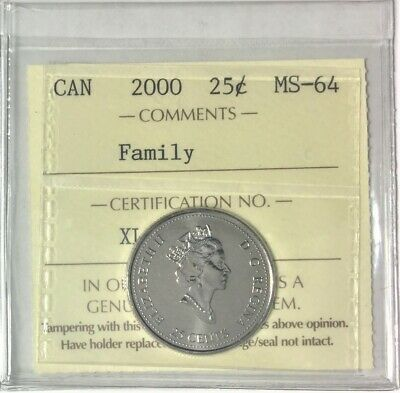 "2000 Canada Millennium Series 25 Cents ""Family"" ICCS Certified MS 64 # 35344"