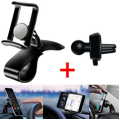 Universal Clip On Car HUD 360° Rotation Dashboard Mount Phone Holder Stand