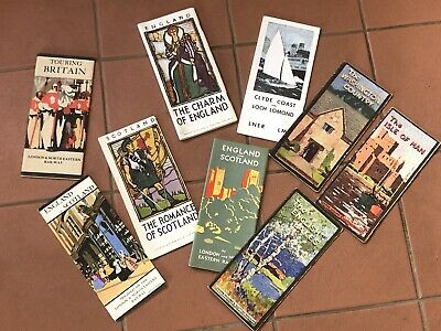 LOT OF ANTIQUE VINTAGE TOURING RAILWAY BRITISH ENGLAND SCOTLAND MAPS 1930s