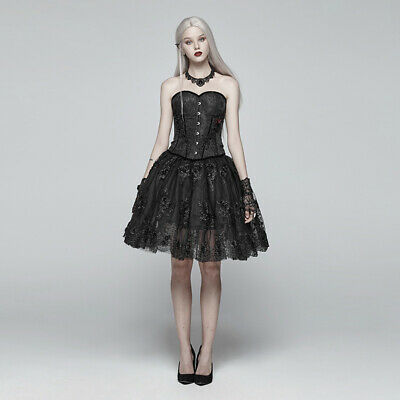 Victorian Gothic Punk Lolita Black Short Double Layered Puffed Lace Floral Skirt