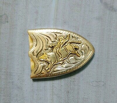 Vintage Sterling Silver Plated Broncos Rider Buckle Tip 1 inch