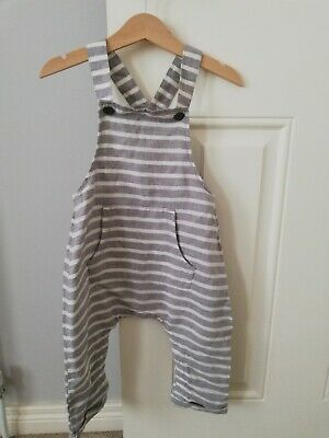 BNWT Unisex Next Grey And White Stripped Dungarees Size 12-18 Months