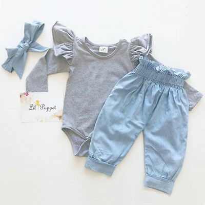 Newborn Baby Girl Ruffle Long Sleeve Romper Tops Denim Pants 2Pcs Outfit Clothes
